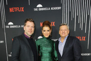 """(L-R) Netflix's Brian Wright, Kate Walsh and Netflix Chief Content Officer Ted Sarandos  attend """"The Umbrella Academy"""" Premiere at Cinerama Dome on February 12, 2019 in Hollywood, California."""