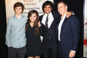 """(L-R)Charlie Tahan, Sarah Jeffery, M. Night Shyamalan and Tim Griffin attend the New York premiere of """"The Visit"""" at Regal Cinemas Union Square on September 8, 2015 in New York City."""