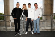 Robbie Williams, Ayda Field, Louis Tomlinson and Simon Cowell pose during The X Factor 2018 launch at Somerset House on July 17, 2018 in London, England.