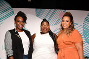 theCURVYcon co-founder Cece Olisa, Gabourey Sidibe, and theCURVYcon co-founder Chastity Garner Valentine pose onstage during theCURVYcon Powered By Dia&Co on September 8, 2018 in New York City.