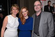 (L-R) Sharon Waxman, CEO and Editor in Chief of TheWrap, actress Jessica Chastain and Steve Pond, Awards Editor for TheWrap attend TheWrap 4th Annual Pre-Oscar Party at Four Seasons Hotel Los Angeles at Beverly Hills on February 20, 2013 in Beverly Hills, California.