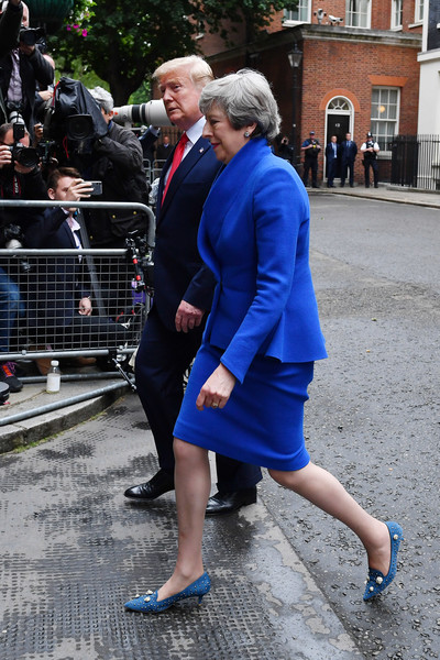 US President Trump's State Visit To UK - Day Two [cobalt blue,blue,electric blue,street fashion,fashion,lady,snapshot,footwear,suit,leg,donald trump,theresa may,president,lunch,u.s.,10 downing street,state visit to uk,state visit,state visit,state banquet]