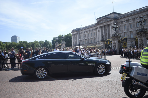 Queen Receives Outgoing And Incoming Prime Ministers [land vehicle,vehicle,car,luxury vehicle,automotive design,transport,personal luxury car,mode of transport,performance car,sports sedan,theresa may,prime ministers,queen,prime minister,monarch,seats,palace,buckingham palace,england,government]