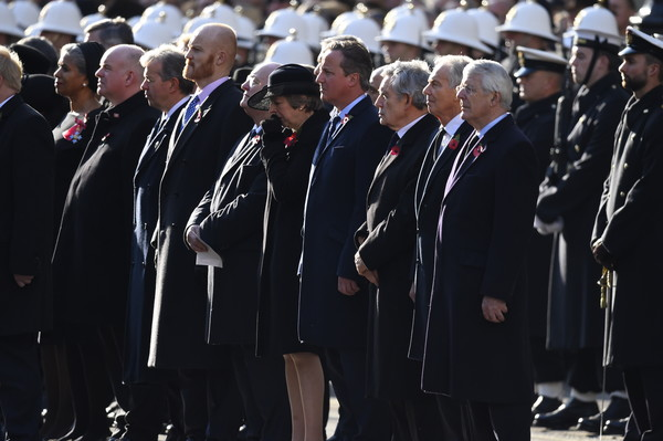 Remembrance Sunday Cenotaph Service [armistice,event,uniform,military rank,military officer,official,gesture,crowd,prime ministers,theresa may,gordon brown,david cameron,tony blair,british,cenotaph service,the cenotaph,memorial]