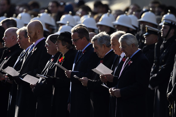 Remembrance Sunday Cenotaph Service [armistice,event,crowd,gesture,official,prime ministers,theresa may,gordon brown,david cameron,tony blair,l-r,part,cenotaph service,memorial]