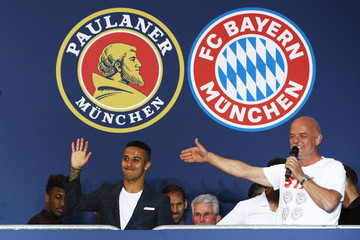 Thiago FC Bayern Muenchen Celebrates Winning The Bundesliga