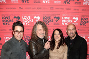 (L-R) Greg Williamson, Robert Plant, President & CEO of God's Love We Deliver Karen Pearl, and John Varvatos attend the Third Annual Love Rocks NYC Benefit Concert for God's Love We Deliver on March 07, 2019 in New York City.