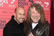 John Varvatos (L) and Robert Plant attend the Third Annual Love Rocks NYC Benefit Concert for God's Love We Deliver on March 07, 2019 in New York City.