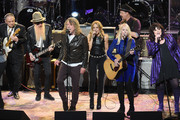 (L-R) Jimmie Vaughan, Billy F Gibbons, Robert Plant, Sheryl Crow, Danny Clinch, Nancy Wilson, and Ann Wilson perform onstage during the Third Annual Love Rocks NYC Benefit Concert for God's Love We Deliver on March 07, 2019 in New York City.