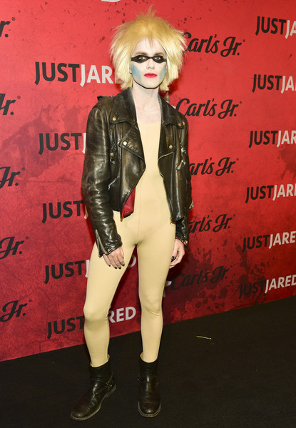 Stars Attend Just Jared's 7th Annual Halloween Party [clothing,eyewear,leather,fashion,jacket,lip,footwear,blond,latex clothing,outerwear,stars,thomas dekker,los angeles,california,just jared,halloween party,goya studios,annual halloween party]