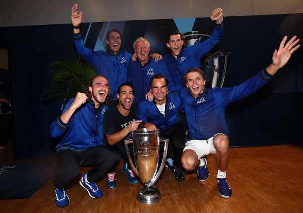 Laver Cup 2019 - Day 3 [social group,team,youth,fun,event,competition event,cheering,leisure,crew,party,players,trophy,rest,europe,switzerland,geneva,palexpo,laver cup,tournament,match]