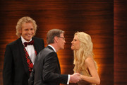 "Michelle Hunziker, Guenther Jauch and Thomas Gottschalk attend the 199th ""Wetten dass...?"" show at the Rothaus Hall on December 3, 2011 in Friedrichshafen, Germany. After 24 years host Thomas Gottschalk terminates today his career as ""Wetten dass...?"" moderator."