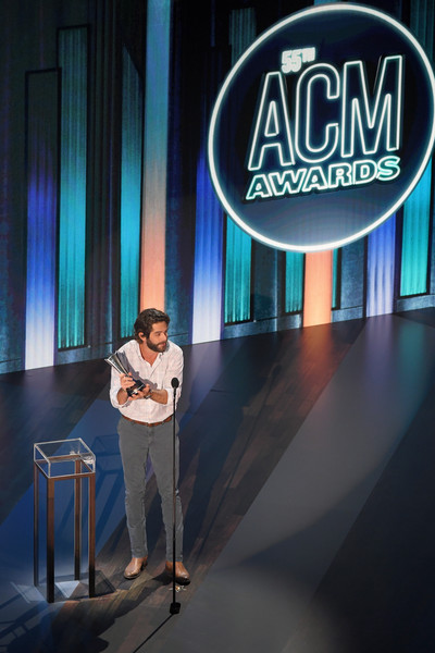 55th Academy Of Country Music Awards - Show [design,stage,display device,technology,event,company,brand,talent show,night,advertising,display device,computer monitor,thomas rhett,academy of country music awards,award,television,design,stage,show,entertainer of the year,display device,television,computer monitor]