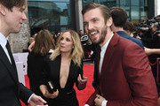 Actress Joanne Froggatt (L) and Actor Dan Stevens attend the THREE Empire awards at The Roundhouse on March 19, 2017 in London, England.