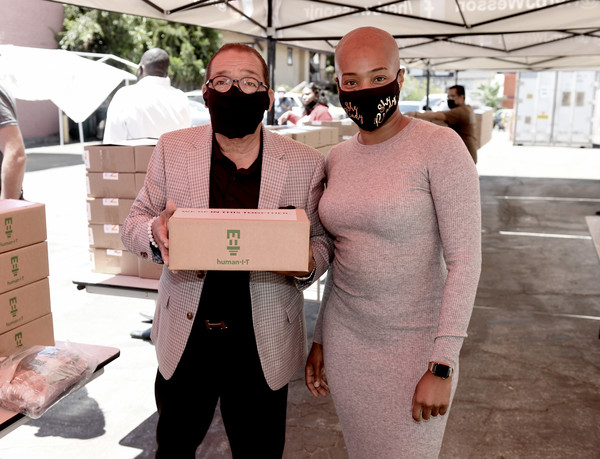 Comedian Tiffany Haddish Joins Council Member Herb Wesson To Donate Computers To Students In Foster Care [pink,beard,facial hair,costume,fictional character,glasses,computers,computers,herb wesson,tiffany haddish,students,hair,foster care,glasses,foster care,giveaway event,facial hair,design,glasses,hair]