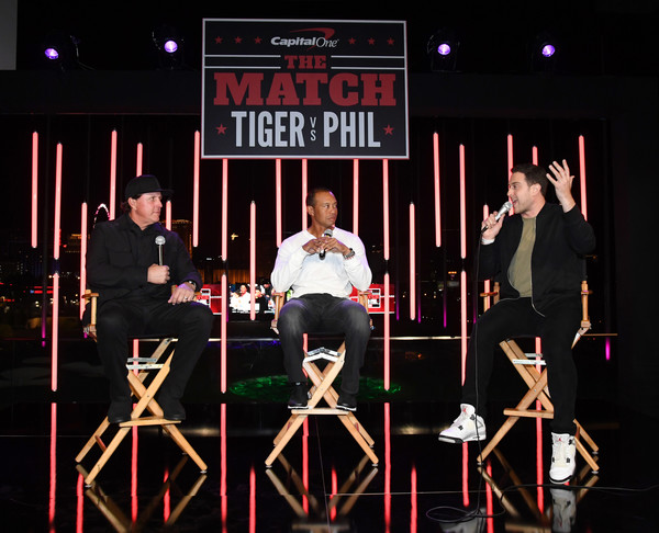 The Match: Tiger vs. Phil - VIP After Party [the bleacher report,font,stage,performance,event,heater,musical theatre,talent show,match: tiger vs phil - vip,adam lefkoe,phil mickelson,tiger woods,l-r,party,topgolf las vegas,the match: tiger vs phil vip,party]
