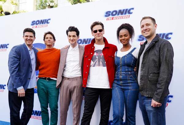 Sonic The Hedgehog Family Day Event - Red Carpet [product,social group,team,event,fun,technology,eyewear,company,white-collar worker,family car,ben schwartz,jeff fowler,jim carrey,james marsden,tika sumpter,toby ascher,l-r,red carpet,sonic the hedgehog family day,event,jeff fowler,ben schwartz,jim carrey,james marsden,sonic the hedgehog,stock photography,tika sumpter,photography,photograph]