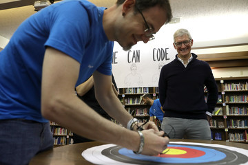 Tim Cook Apple CEO Tim Cook Visits California School For The Deaf In Fremont, California