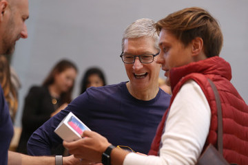Tim Cook Apple's New iPhone X Goes on Sale in Stores