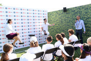 Lindsay Davenport, Tim Henman and Andrew Cotter participate in a Wimbledon press conference with a twist, on HSBC's Court 20 at Wimbledon on July 2, 2019 in London, England.