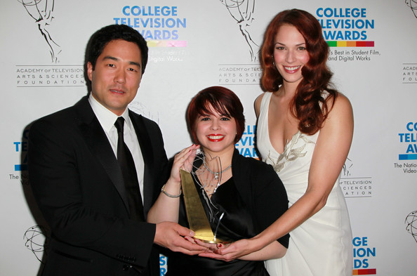 31st Annual College Television Awards - Press Room [tim kang,lyvia a. martinez,amanda righetti,filmmaker,college television awards,l-r,drama award,award,event,white-collar worker,award ceremony,room,press room,renaissance hollywood hotel]