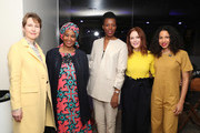 "Phumzile Mlambo-Ngcuka, Julianne Moore and Jurnee Smollett-Bell pose with guests at ""Time's Up"" during the 2018 Tribeca Film Festival at Spring Studios on April 28, 2018 in New York City."