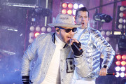 Donny Wahlberg and Jordan Knight of the New Kids on the Block  as they perform during  the Times Square New Year's Eve 2019 Celebration on December 31, 2018 in New York City.