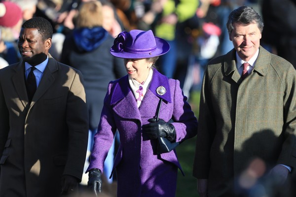 The Royal Family Attend Church On Christmas Day [the royal family attend church on christmas day,purple,event,headgear,hat,suit,fedora,plant,anne,princess royal,r,timothy laurence,service,church of st mary magdalene,united kingdom,estate,christmas day church]