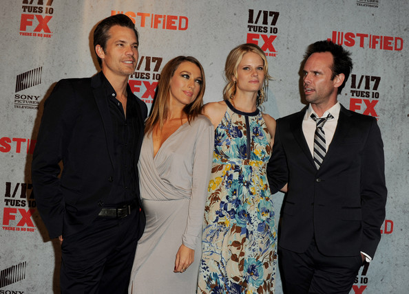 "Premiere Of FX Networks & Sony Pictures Television's ""Justified"" Season 3 - Red Carpet [red carpet,justified,event,premiere,carpet,actors,natalie zea,walton goggins,joelle carter,fx networks,sony pictures television,premiere,premiere]"
