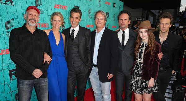 Premiere of FX's 'Justified' Series Finale - Red Carpet [red carpet,justified,series finale,premiere,event,red carpet,carpet,suit,flooring,fictional character,style,cast members,show creator,walter goggins,fx,l-r,premiere,premiere]
