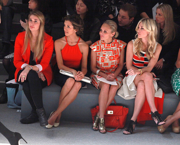 Milly By Michelle Smith - Front Row - Fall 2012 Mercedes-Benz Fashion Week [fashion,event,sitting,leg,thigh,performance,audience,human leg,fashion design,india de beaufort,michelle smith,milly by,kristin chenoweth,guest,tinsley mortimer,front row,l,mercedes-benz fashion week,fashion show]