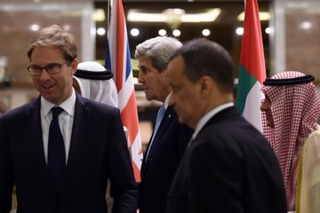 Tobias Ellwood US Secretary of State John Kerry in Riyadh for Talks on Yemen Situation