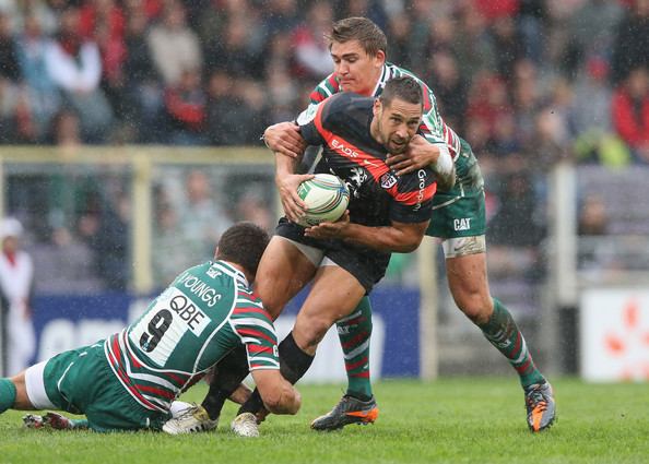 Toulouse v Leicester Tigers - Heineken Cup [sports,team sport,ball game,tackle,rugby union,rugby player,rugby league,player,rugby,games,luke mcalister,toby flood,ben youngs,le stadium,france,heineken cup,toulouse,leicester tigers,l,match]