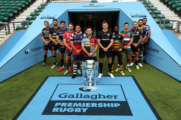 Gallagher Premiership Rugby 2018-19 Season Launch [team,sports,stadium,team sport,sport venue,championship,technology,grass,player,arena football,toby flood,jonno ross,tom wood,rugby,l-r,gallagher premiership,northampton saints,newcastle falcons,gloucester rugby,season launch]