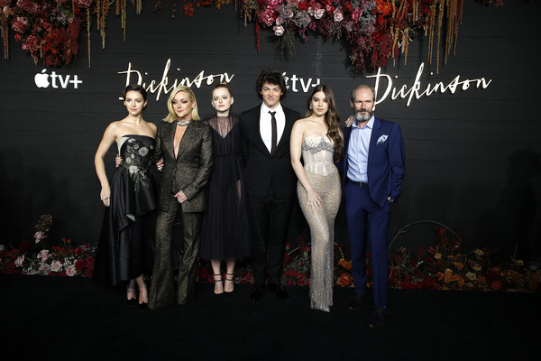 """Dickinson"" New York Premiere [fashion,formal wear,event,suit,tuxedo,fashion design,dress,premiere,carpet,haute couture,dickinson,jane krakowski,ella hunt,hailee steinfeld,adrian blake enscoe,alena smith,anna baryshnikov,l-r,new york,premiere]"
