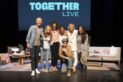 Glennon Doyle, Abby Wambach, Jennifer Rudolph Walsh, Nkosi Mabaso, Cameron Esposito, MILCK and Mayson Zayid pose for a photo on stage at Together Live at Walton Arts Center on October 18, 2019 in Fayetteville, Arkansas.