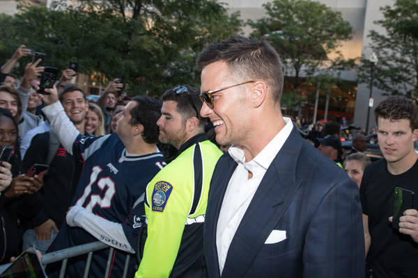 TB12 Performance And Recovery Center Grand Opening [people,product,event,crowd,yellow,team,recreation,competition event,suit,official,tom brady,boston,massachusetts,new england patriots,tb12 performance recovery center,tb12 performance recovery center grand opening,opening]