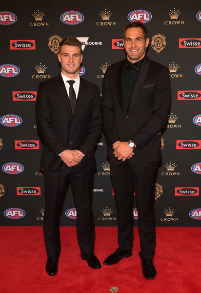 2018 Brownlow Medal - Arrivals [carpet,suit,red carpet,premiere,event,formal wear,tuxedo,flooring,arrivals,tom papley,josh kennedy,australia,melbourne,crown entertainment complex,brownlow medal,swans]