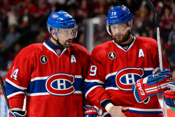 Tomas Plekanec Andrei Markov Tampa Bay Lightning v Montreal Canadiens - Game One