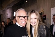 Tommy Hilfiger and Model Elena Matei are seen on backstage before the Tommy Hilfiger Show (TOMMYNOW S20) on February 16, 2020 in London, England.