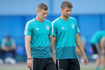 Toni Kroos Thomas Mueller Germany Training And Press Conference
