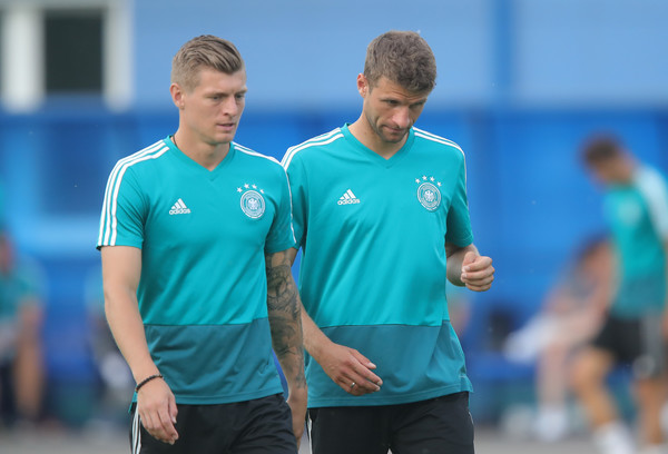 Germany Training And Press Conference [team sport,player,sports,team,ball game,sports training,sportswear,soccer,training,competition,toni kroos,thomas mueller,germany,kazan,russia,electron stadium,germany training and press conference,training session]