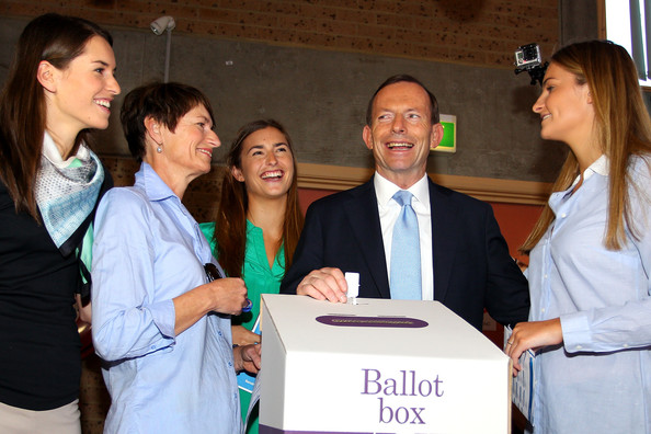 Opposition Leader Tony Abbott Campaigns On Election Day []