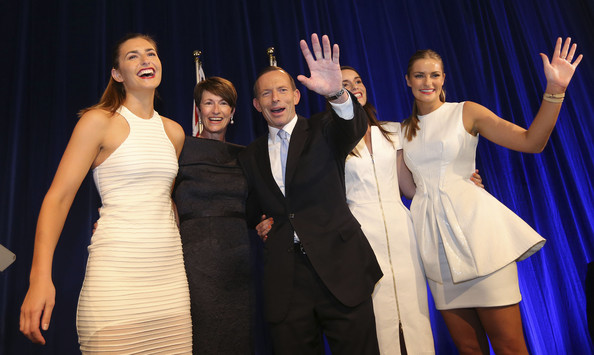 Tony Abbott Elected 27th Prime Minister Of Australia [event,performance,fashion,performing arts,dress,formal wear,fun,stage,performance art,talent show,tony abbott,prime minister,margaret,kevin rudd,family,bridget,victory speech,wave,australia,party]