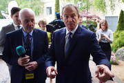 Former British Prime Minister Tony Blair (R) arrives for the European People's Party (EPP) Group Bureau meeting at Druids Glen on May 12, 2017 in Wicklow, Ireland. Brexit and negotiating objectives will top the agenda at the meeting alongside the unique circumstances regarding the hard border issue between northern and southern Ireland, the only physical border between the United Kingdom and Europe. Mr Blair has signaled a return to politics in light of the Brexit vote. The meeting also features European Commission Brexit chief negotiator Michel Barnier.