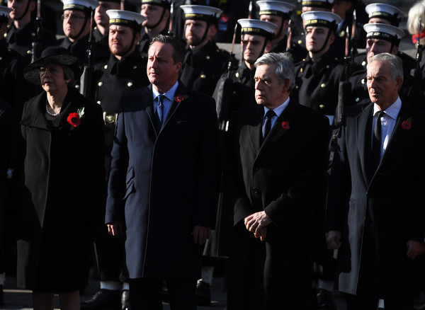Remembrance Sunday Cenotaph Service [armistice,uniform,military officer,official,military uniform,event,military,military person,police officer,military rank,security,prime ministers,theresa may,gordon brown,david cameron,tony blair,british,cenotaph service,the cenotaph,memorial]