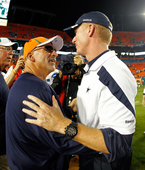 Jason Garrett and Tony Sparano get in the mood.