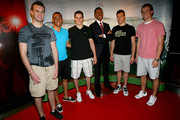 Brett Connolly, Emerson Etem, Tyler Seguin, Taylor Hall and Cam Fowler pose with a wax statue of president Obama at the Top NHL Draft Prospects At The Hollywood Walk of Fame on June 23, 2010 in Hollywood, California.