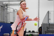 Eugenie Bouchard of Canada  plays a forehand against Alison Riske United States during their WomenÕs singles first round match on day two of the Toray Pan Pacific Open at Arena Tachikawa Tachihi on September 18, 2018 in Tachikawa, Tokyo, Japan.