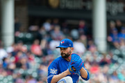 Starting pitcher Jaime Garcia #57 of the Toronto Blue Jays pitches during the first inning against the Cleveland Indians at Progressive Field on May 3, 2018 in Cleveland, Ohio. All players are wearing #42 in honor of Jackie Robinson Day in this make up game from April 15.
